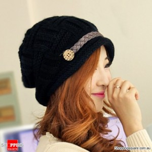 Women Rageared Baggy Warm Winter Button Beanie Knit Crochet Hat Black Colour