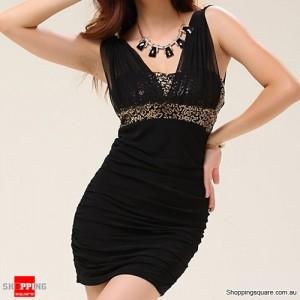 Women's Sexy Cocktail Party Sequin Mini Dress Black Colour
