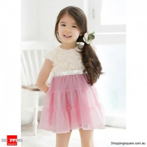 Girls Lovely Rose Lace Chiffon Bow Pompon Dress Pink Colour