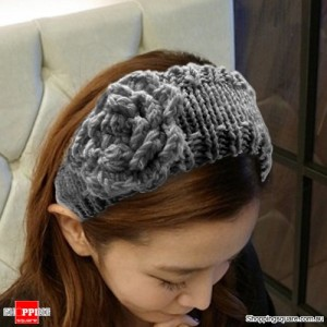 Women's Girly Floral Knitted Headwrap Grey Colour