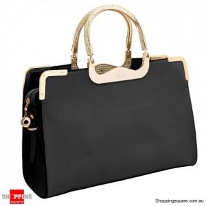 Women's OL Tote Leather Handbag Shoulder Bag Black Colour