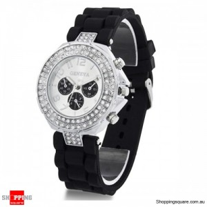 Womens Crystal Rhinestone Quartz Rubber Silicone Wrist Watch Black Colour