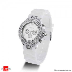 New Womens Crystal Rhinestone Quartz Rubber Silicone Wrist Watch White Colour