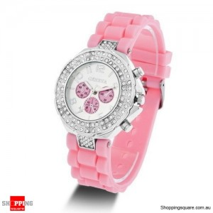 New Womens Crystal Rhinestone Quartz Rubber Silicone Wrist Watch Pink Colour