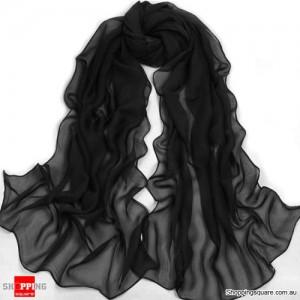 Women Fashion Chiffon Long Scarf Black Colour