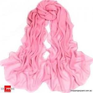 Women Fashion Chiffon Long Scarf Pink Colour
