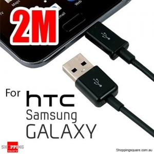 2m USB to Micro USB Charging Data Cable Black for Samsung Galaxy, HTC , MP3, MP4