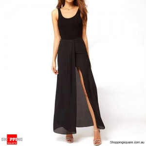 Womens Chiffon Long Maxi Skirt with Open Side Splits S size Black Colour
