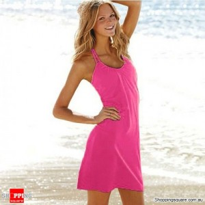 Fashion Ladies Beach Cover Up Halterneck Summer Dress Size 14 Pink Colour