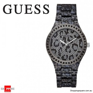 Guess Seductive Gunmental Sparkle Leopard Glitz Womens Watch