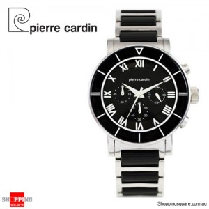 Pierre Cardin Stainless Steel Black Dial Resin Band Unisex Watch