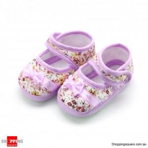 Cute New baby infant girl prewalk soft bowknot shoes Size 12 Purple Colour