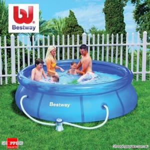 Bestway 10 FT Fast set Large 305cm x 72cm Inflatable Outdoor Swimming Pool with Filter