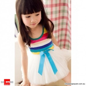 Girls Toddlers Rainbow Stripe Princess Tutu Dress M Size White Colour