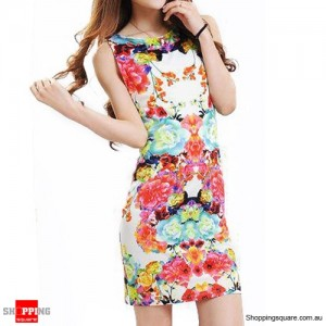 Women's Floral Printed Sleeveless Mini Dress Size 8