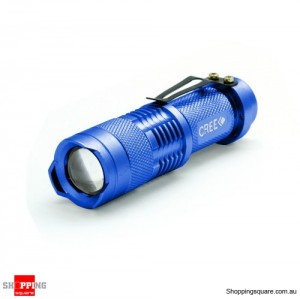 5W Zoomable CREE Q3 LED Mini Flashlight Torch Light Lamp Waterproof Blue Colour