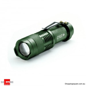 5W Zoomable CREE Q3 LED Mini Flashlight Torch Light Lamp Waterproof Green Colour