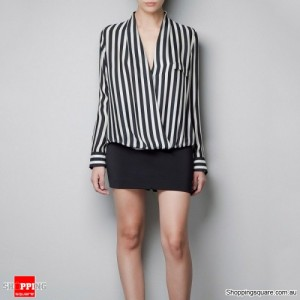 Women's Black and White Striped Long Sleeve Chiffon Blouse Size 12