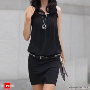 Women's Crew Neck Chiffon Mini Dress Size 14 Black Colour