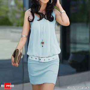 Women's Crew Neck Chiffon Mini Dress Size 14 Blue Colour