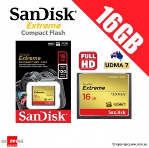 SanDisk Extreme Compact Flash 16GB Memory Card 120MB/s for DSLR Digital Camera FHD