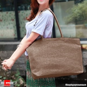 Summer Big Straw Shoulder Tote Shopper Coffee