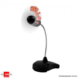 Mini Flexible USB LED Light-emitting Message fonts Powered Portable Fan