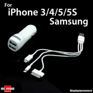 3.1Amp Dual Port USB Car Charger for iPad 2 new iPad mini iPad, iphone 4, 5, 5C, 5S ,Samsung S3 S4 Note II Note III