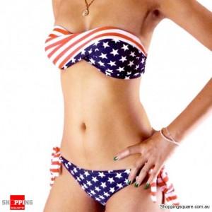 Bikini Swimsuit Top and Bottom Bikini Star Pattern Swimwear Size 8