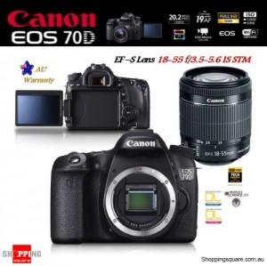 Canon EOS 70D 20.2MP DSLR + 18-55MM IS STM Lens Digital Camera Kit