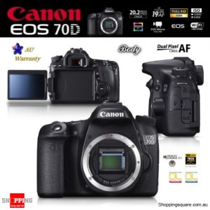 Canon EOS 70D 20.2MP Dual Pixel EF EF-S DSLR Digital Camera Body