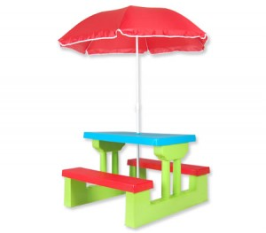 Kids Picnic Table Outdoor Multi-Colour Set with Umbrella