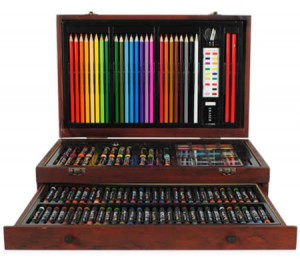Creative Gift 138 Piece Complete Wooden Art Box Set for Colouring Painting Drawing