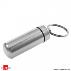 Aluminum Waterproof Pill Box Case Bottle Keychain Silver Colour