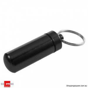 Aluminum Waterproof Pill Box Case Bottle Keychain Black Colour