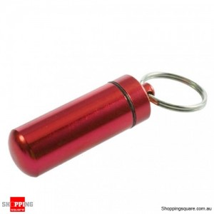 Aluminum Waterproof Pill Box Case Bottle Keychain Red Colour