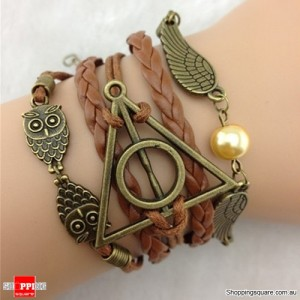 Harry Potter Deathly Hollows Owls wings charm leather Suede Wrap bracelet Brown Colour