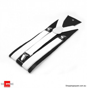 Adjustable Clip-on Unisex Full Elastic Suspenders White Colour