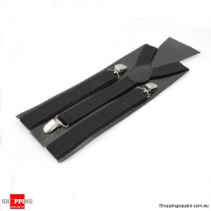Adjustable Clip-on Unisex Full Elastic Suspenders Black Colour