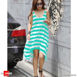 Summer Casual Elegant Sexy Stripe Irregular Beach Long Dress Green Colour