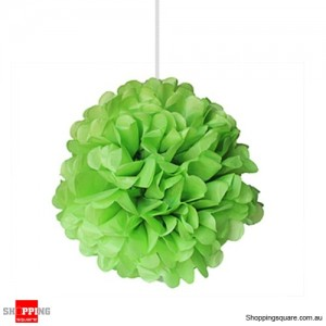 Green Tissue Paper Pom Poms for Party Decorations 25cm