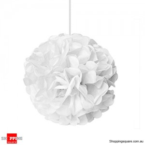 White Tissue Paper Pom Poms for Party Decorations 25cm