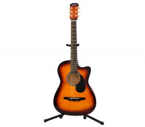 "Acoustic Cutaway Guitar 38"" Brown + Bonus String Set + Guitar Stand"