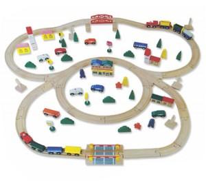 100 Piece Wooden Train Toy Set