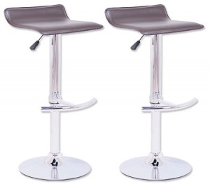 2 x PVC Leather Bar Stool Chair with Chrome T Shaped Footrest and Adjustable Height - Chocolate Brown