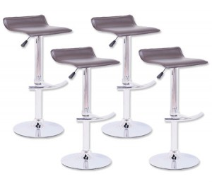 4 x PVC Leather Bar Stool Chair with Chrome T Shaped Footrest and Adjustable Height - Chocolate Brown