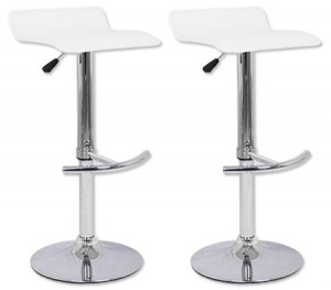 2 x PVC Leather Bar Stool Chair with Chrome T Shaped Footrest and Adjustable Height - White