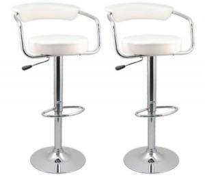 2 x Designer Bar Stool Kitchen Chair Gas Lift - White