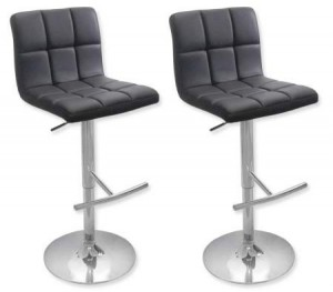 2 x PU Leather Padded Contoured Bar Stool Kitchen Chair - Black - FX-1063A_BKx2