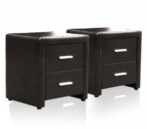 Set of  PU Leather Bedside Tables w 2 Drawers - Brown